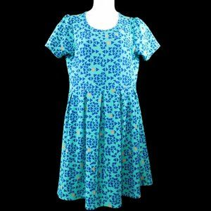 LulaRoe Amelia Fit and Flare Pocketed Dress Plus Size 2XL Triangle Allover Print